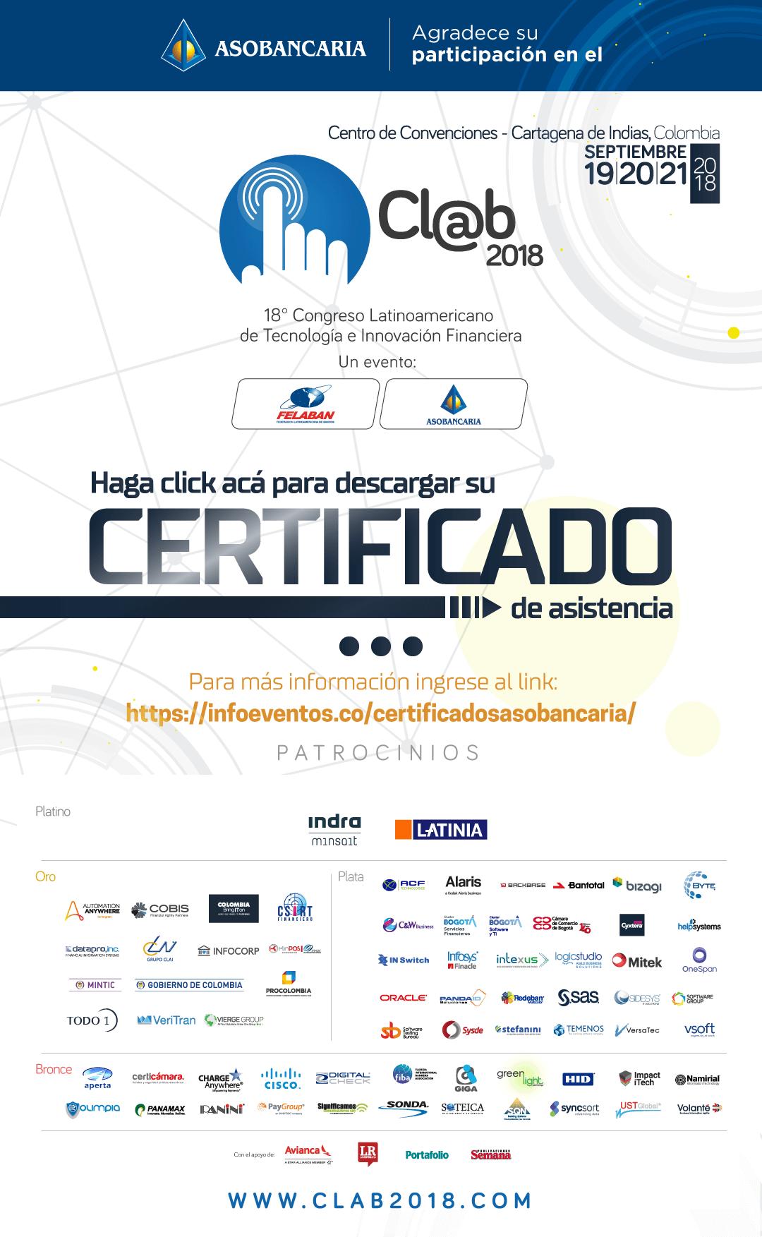 Certificado de asistencia CLAB 2018
